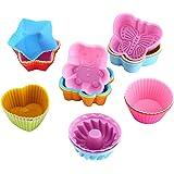 WOMGF 26 Moules à Muffin Moules à Gâteaux Moules de Cuisson en Silicone Réutilisables Patisserie Moules à Cupcakes en Silicon