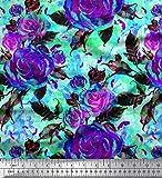 Soimoi Violet Mousse Georgette en Tissu Feuilles et Rose Fleur Tissu a Coudre Imprime par Metre 42 Pouce Large