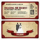 Einladungskarten zur Hochzeit (10 Stück) als Eintrittskarte im Vintage Ticket Look Hochzeitskarten in Rot