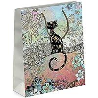 Bonitas bolsas de regalo con diseño de gato para regalo, con relieve de lámina dorada
