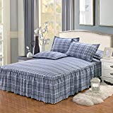 Yunhigh Plaid Fitted Valance Bed Sheet Ruffle Queen Size Bed Skirt Cotton Elastic Frilled Bedspread