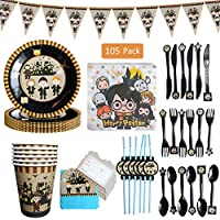 Amycute 105 Pcs Wizard Party Tableware Set, Kids Birthday Party Plates, Cups, Napkins, Banner, Straws, Invitation Cards, Cutlery, for Kids Birthday Party Decorations