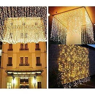 Knonew Cortina de luz de 300 LEDs 3m x 3m Blanco cálido Perfecto para la decoración de ventanas, bares, patios, entradas de edificios, San Valentín, Navidad, Bodas…