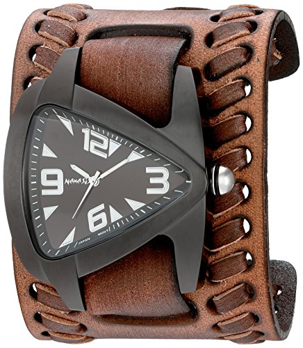 Nemesis Men's 'Ion-Plated IP Teardrop' Quartz Stainless Steel and Leather Automatic Watch, Color:Brown (Model: VBDB061W)
