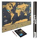 Mappemonde - Carte du monde à gratter (61 x 81.2 cm) avec 252 drapeaux de pays, gratteur et tube pret à offrir - Poster cadeau idéal pour voyageurs et anniversaire - Scratch off World Map Noire XXL