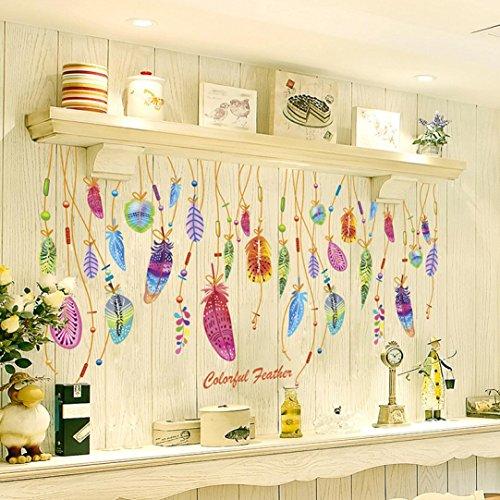 Resplend_Haushalt Aufkleber,Resplend Farbige Federn Dreidimensional Wandtattoo DIY 3D Tapete Wandbilder Dekorative Kreative Wandsticker Entfernbare Wandaufkleber Raumdekoration Wanddeko (Mehrfarbig)