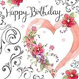 twizler Happy Birthday Karte für Sie mit Silber folieren, Einzigartige Wasserfarben-Effekt und Herz–Geburtstagskarte