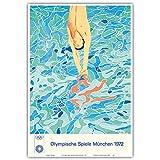 Olympische Spiele München 1972 - Der Turmspringer - Vintage Retro Olympische Spiele Plakat von David Hockney c.1972 - Kunstdruck - 33cm x 48cm