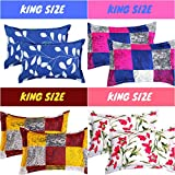 BSB HOME Cotton King Size Pillow Cover Set (Multicolour, 20 x 30 Inch) 8 Pieces