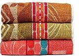 #8: Casa Basics 400 GSM Set Of 3 Jacquard Large Bath Towels 68 X 137 cm- Brown,Green & Orange