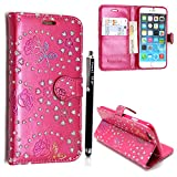 UNIQUE DESINGS PU LEATHER FLIP CASE COVER FOR APPLE IPOD TOUCH 4 4TH GEN + FREE STYLUS (Pink Diamond Flip)