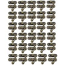 30 juegos de ganchos de madera con cierre derecho envejecido, caja de joyería, decoración