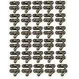 30Sets Antik rechts Knüpfteppich Überfalle Holz jewelry box Haspe Catch Dekoration mit Ersatz Schrauben, Bronze Tone (rechts Latch Haspe)
