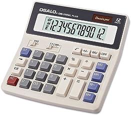 Ocamo 12 Digits Display Solar Battery Dual Power Desktop Calculator as Office Supplies White
