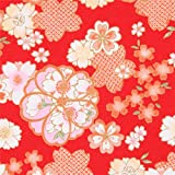 Roter Kreppstoff mit Kirschblüten