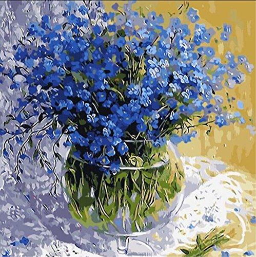 WOWDECOR DIY Malen nach Zahlen Kits Geschenk für Erwachsene Kinder, Malen nach Zahlen Home Haus Dekor - Blaue frische Blumen 16 x 20 Zoll (X7035, Ohne Rahmen)