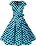Dresstells Vintage 50er Swing Party kleider Cap Sleeves Rockabilly Retro Hepburn Cocktailkleider Blue Black Dot XS