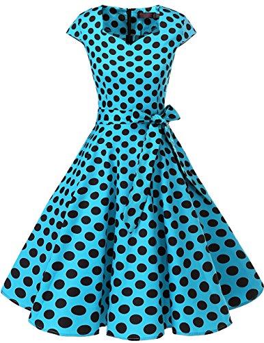 DRESSTELLS Version 6.0 Vintage 1950's Robe de soirée Cocktail rétro Style années 50 Manches Courtes, Blue Black Dot M