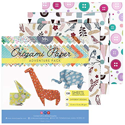 MozArt Supplies Origami Papier Adventure Pack Set - 120 Faltblätter - traditionelles japanisches Bastelpapier mit 40 Mustern, Blumen, Tieren, Azteken - basteln Sie Blumen, Kraniche, Vögel