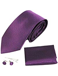 [Amazing Tour] Men's Fashion Paisley Floral Patterned Handmade Polyester Regular Width Necktie with Cufflinks Pocket Square Handkerchief Tie Clip Stickpin Box Set for Wedding Party Formal Occasions