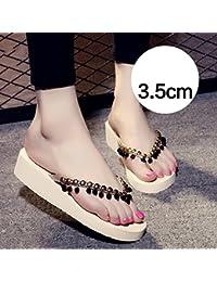 gruesas zapatillas de verano hechas a mano con cuentas simples deslizadores de la playa zapatillas antideslizantes (Negro, beige, marrón, gris) ( Color : 3.5cm-Beige , Tamaño : EU36/UK4/CN36 )