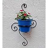 Green Gardenia Iron S Wall Bracket with Bucket (Light Blue)