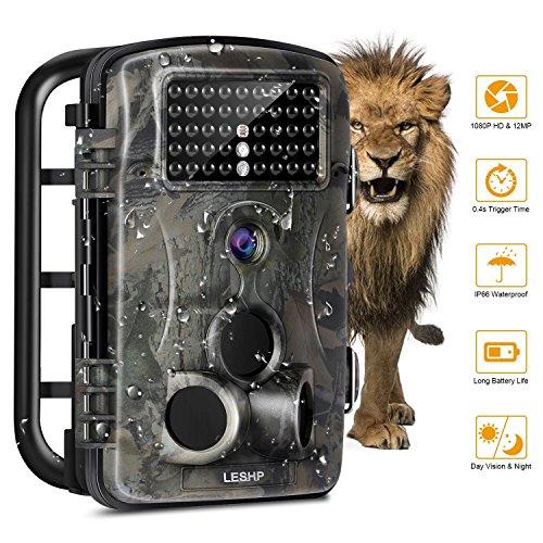 Caméra de Chasse LESHP Caméra de Surveillance Vidéo Étanche 12MP 1080P Grand Angle 120° avec Ecran LCD 2,4' HD 42 LEDs Caméra Vision Nocturne Infrarouge Observation Nature Animal IR-CUT Camouflage