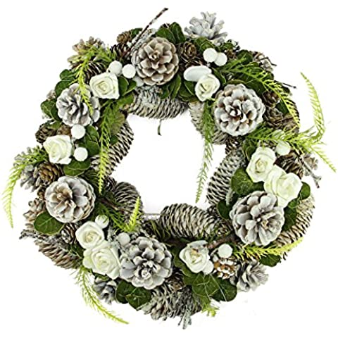 33,02 cm blanco helado cono del pino, rosas y ramitas de Navidad Artificial de la guirnalda -