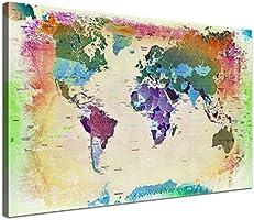 LanaKK - Weltkarte Bunt mit Korkrückwand - edel Leinwand Bild Kunstdruck auf Keilrahmen, Pinnwand für Weltenbummler 60 x 40 cm, einteilig
