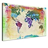 """LANA KK - Weltkarte Leinwandbild mit Korkrückwand zum pinnen der Reiseziele – """"Weltkarte Bunt"""" - deutsch - Kunstdruck-Pinnwand Globus in gelb, einteilig & fertig gerahmt in 60x40cm"""