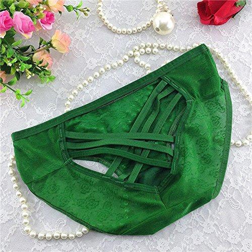 QPLA@T-back Unterhosen Schlüpfer Niedrige taille Slip Damen Unterwäsche Tangas green onesize-B