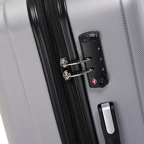 BEIBYE TSA-Schloß 2080 Hangepäck Zwillingsrollen Reisekoffer Koffer Trolley Hartschale Set-XL-L-M(Boardcase) (Silber, M) - 4