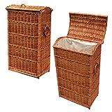 GalaDis WR8 Schmaler rechteckiger Wäschekorb/Wäschesammler aus Weide Geflochten (70 cm) mit Einsatz/Innensack und Deckel für die Kleine Familie