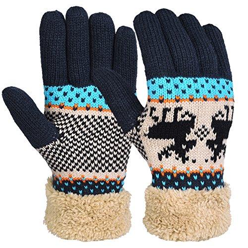 Vbiger Winter Handschuhe Warme Handschuhe Baumwolle Damen Frauen Handschuhe (Garn Manschette)