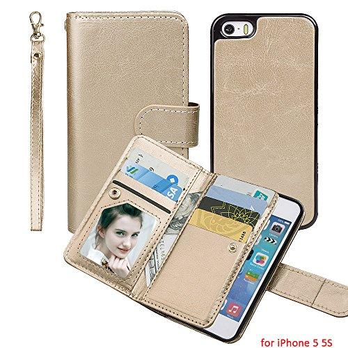 xhorizon MSH (version amélioré) 2 en 1 cuir de bonne qualité[fonction portefeuille][magnétique détachable]Support de voiture magnétique pour téléphone portable]Folio Étui Housse Coque pour iPhone 5 5S Doré pour iPhone 5 5S