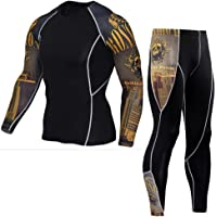 YAOTT Sports, maglietta a compressione a maniche lunghe, alta elasticità, da uomo + leggings a compressione, set da 2…