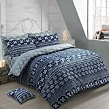 100% Cotton Thermal Super Soft Flannelette Brushed Thermal Cotton Nordic Navy Blue / Grey Reversible Quilt Cover Bedding Set Scandinavian (King Size)