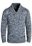 !Solid Phil Herren Winter Pullover Strickpullover Grobstrick Pullover mit Schalkragen In Melange-Optik, Größe:M, Farbe:Insignia Blue (1991)