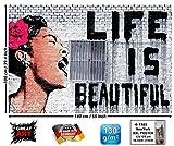 GREAT ART Affiche Banksy, décoration de Peinture Murale d'artiste de Graffiti Life is Beautiful, Style de Rue Pop, Style d'artiste de Rue Stencil | Mur Deco Poster Mural Image by (140 x 100 cm)