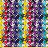 ABAKUHAUS Vistoso Tela por Metro, Pata De Gallo Diagonal, Satén para Textiles del Hogar y Manualidades, 3M (160x300cm), Multicolor