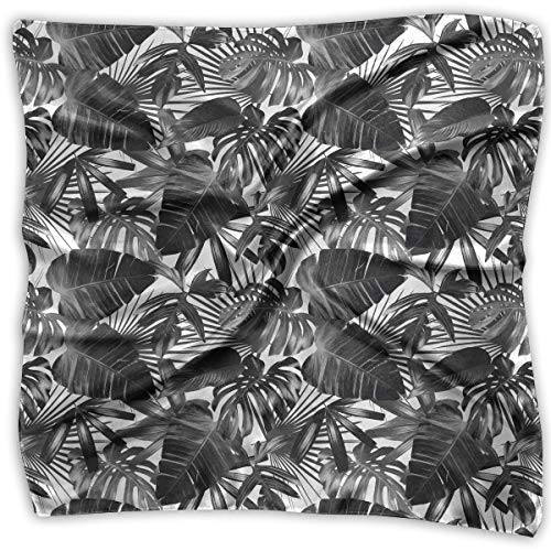 Floral Square-neck (Graphic Plant Palm Leaf Tropic Pattern Square Scarf - Women's Lightweight Floral Neck Scarf 100% Polyester White)