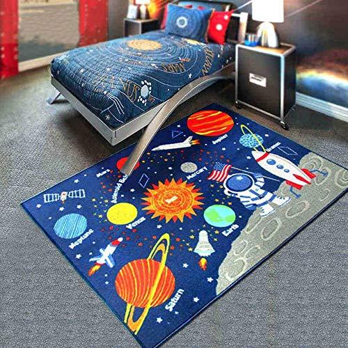 KK&MM Alfombra de Dormitorio con pudín de niños Manta de Dibujos Animados Planeta Solar Sistema temprano...