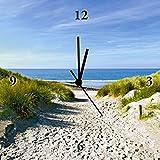 Artland Analoge Wand-Funk-oder Quarz-Uhr Digital-Druck Leinwand auf Holz-Rahmen gespannt mit Motiv Ivonnewierink Strand mit Sanddünen und einem Weg zur See Landschaften Strand Fotografie Creme A6LZ