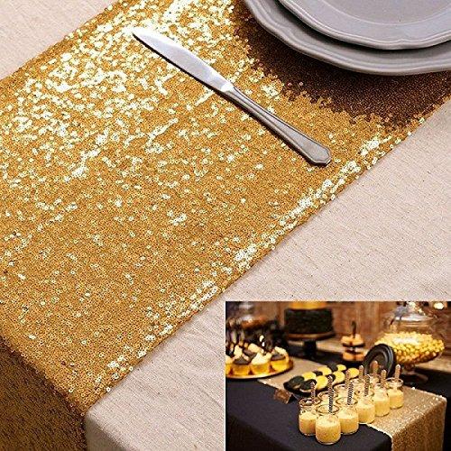 ShinyBeauty pailletten tabelle läuferin gold 12x72inch tischdecke champagner oder hochzeits party (Champagner Party)