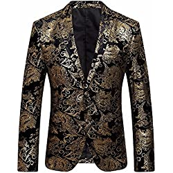 Sunyywill Chemises habillées pour Homme, Homme Blazer en Or Imprimé, Costumes et Vestes Homme Vestes de Costume