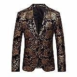 Longra-Uomo Giacca Elegante Vestito da Uomo Slim Fit Cappotto Giacca Blazer in Paillettes Uomo Giacca Costume Festivo Vestito da Festa Top Outwear Oro Rosso Argento (L, Giallo#2)