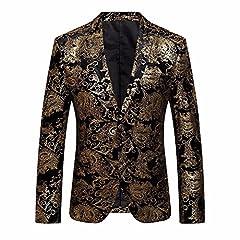 Idea Regalo - Longra-Uomo Giacca Elegante Vestito da Uomo Slim Fit Cappotto Giacca Blazer in Paillettes Uomo Giacca Costume Festivo Vestito da Festa Top Outwear Oro Rosso Argento (M, Giallo#2)