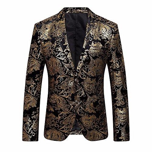 Battnot Herren Anzug Große Größen Slim Fit Gold Blumen Muster Jacke, Oversize Männer Mantel für Hochzeit und Party Business Casual One Button Suit Blazer Regular Fit Blazer Mens Top Coat Outwear M-4XL