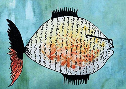Klappkarte mit Umschlag C6- (11,5 x 17 cm) • 61705-5 ''Lesefisch'' von Inkognito • Künstler: INKOGNITO © Willy Puchner • Fantastik • Tiere