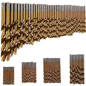 99: 99brocas para plástico, madera y metal, con revestimiento de titanio, 1,5 mm - ...